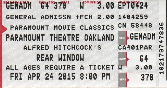 """Rear Window"" (1954). Detail of ticket stub."
