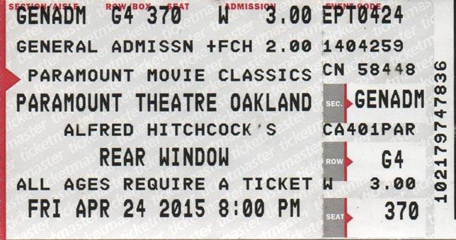 """""""Rear Window"""" (1954). Detail of ticket stub."""